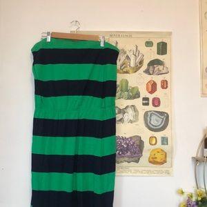 Gap Green Striped Strapless Maxi Dress